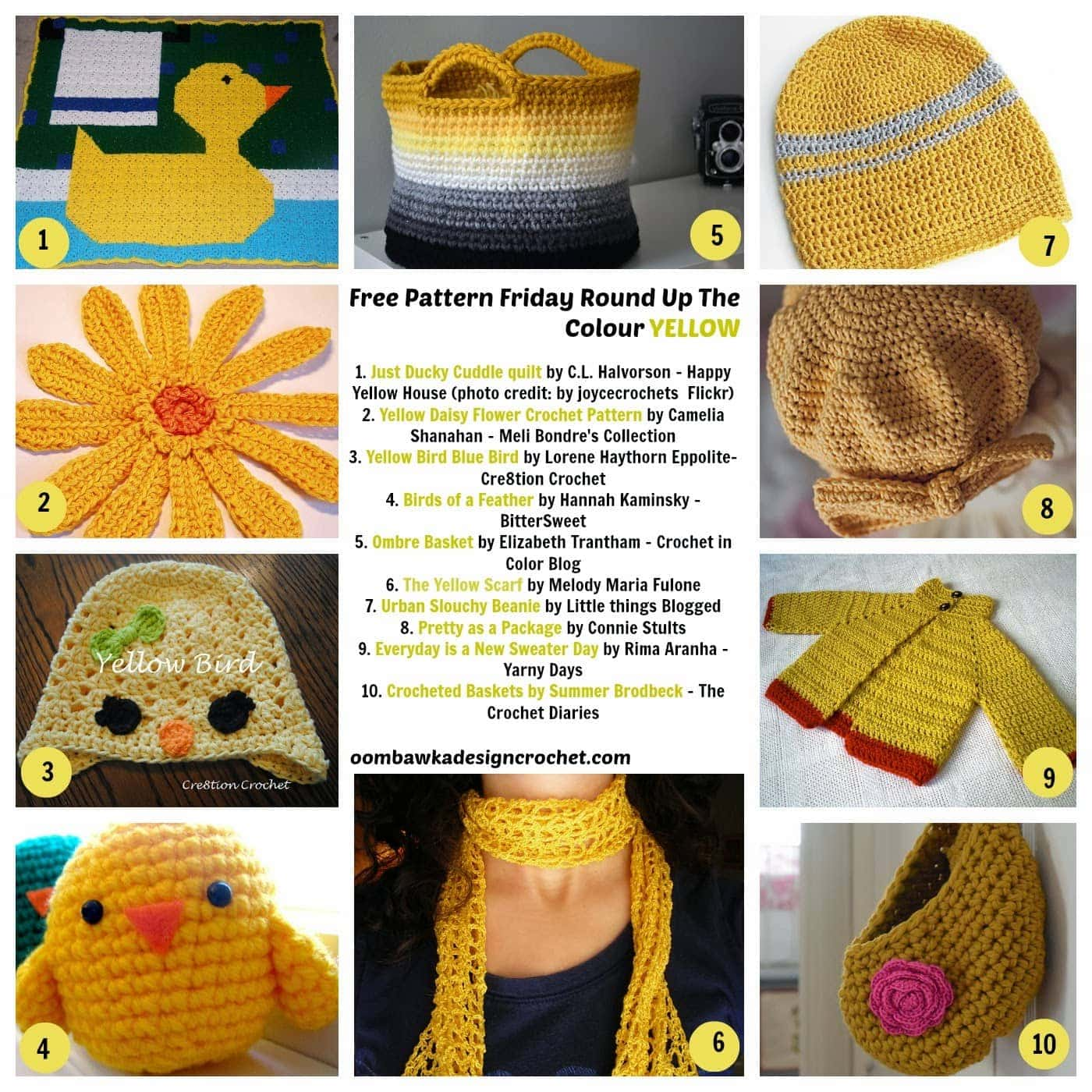 Free Patterns Crocheted in the Color Yellow
