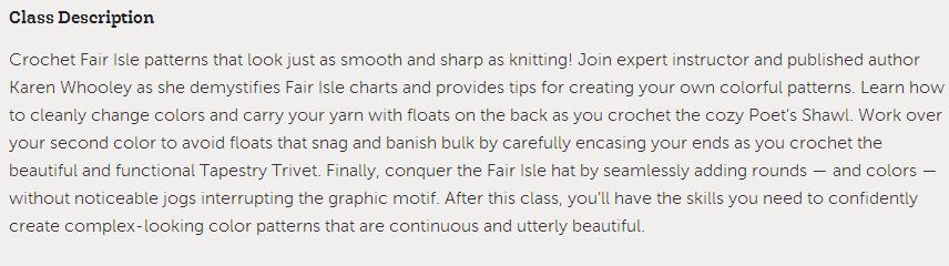 Fair Isle Crochet Class Craftsy