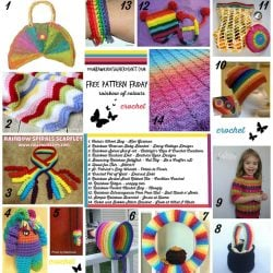 14 Rainbow Crochet Patterns. Free Pattern Roundup. Oombawka Design.