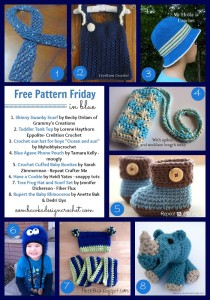 8 Fun Free Patterns. Crochet Pattern Roundup. Blue Yarn. Oombawka Design Crochet.