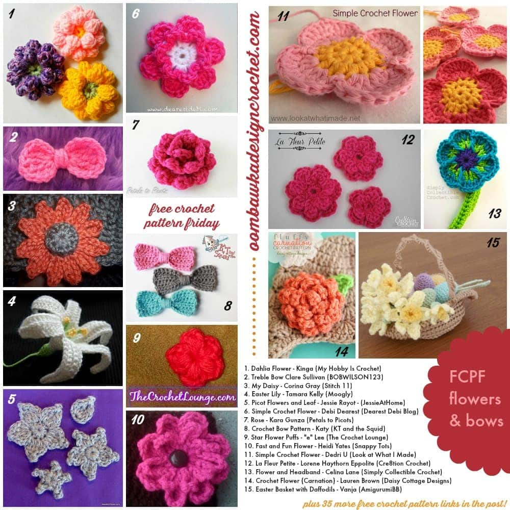 50 free crochet pattern links FCPF flowers and bows