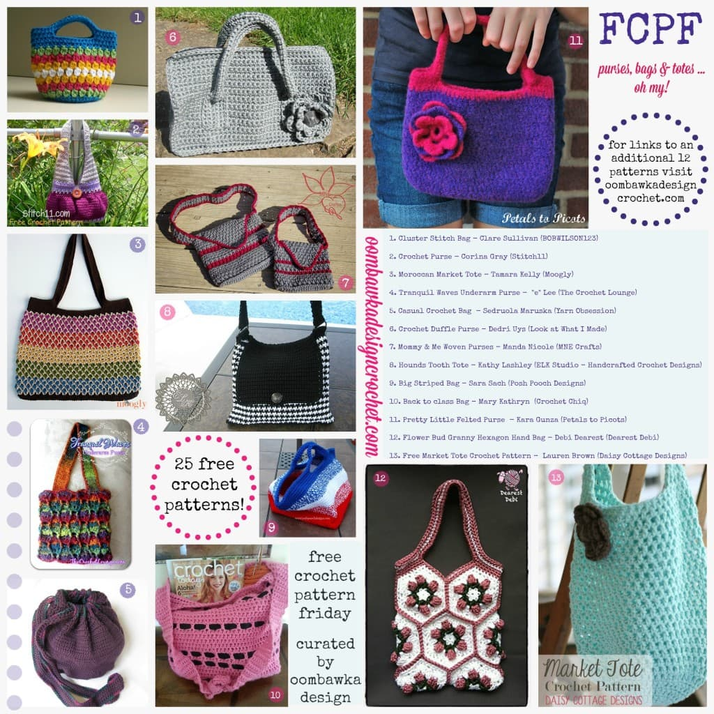 FCPF purses bags and totes free crochet patterns