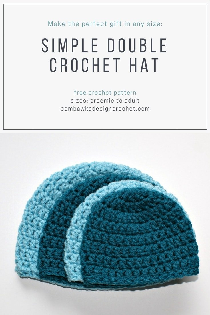 Free Pattern Simple Double Crochet Hat Pattern in sizes Preemie to Adult  Large by Oombawka Design 5d3925862e1