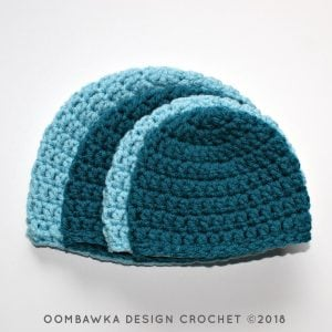 Simple Double Crochet Hat Pattern by Oombawka Design 2018