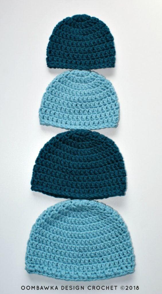 Simple Double Crochet Hat Pattern by Oombawka Design Crochet Free Pattern in Sizes Preemie to Adult