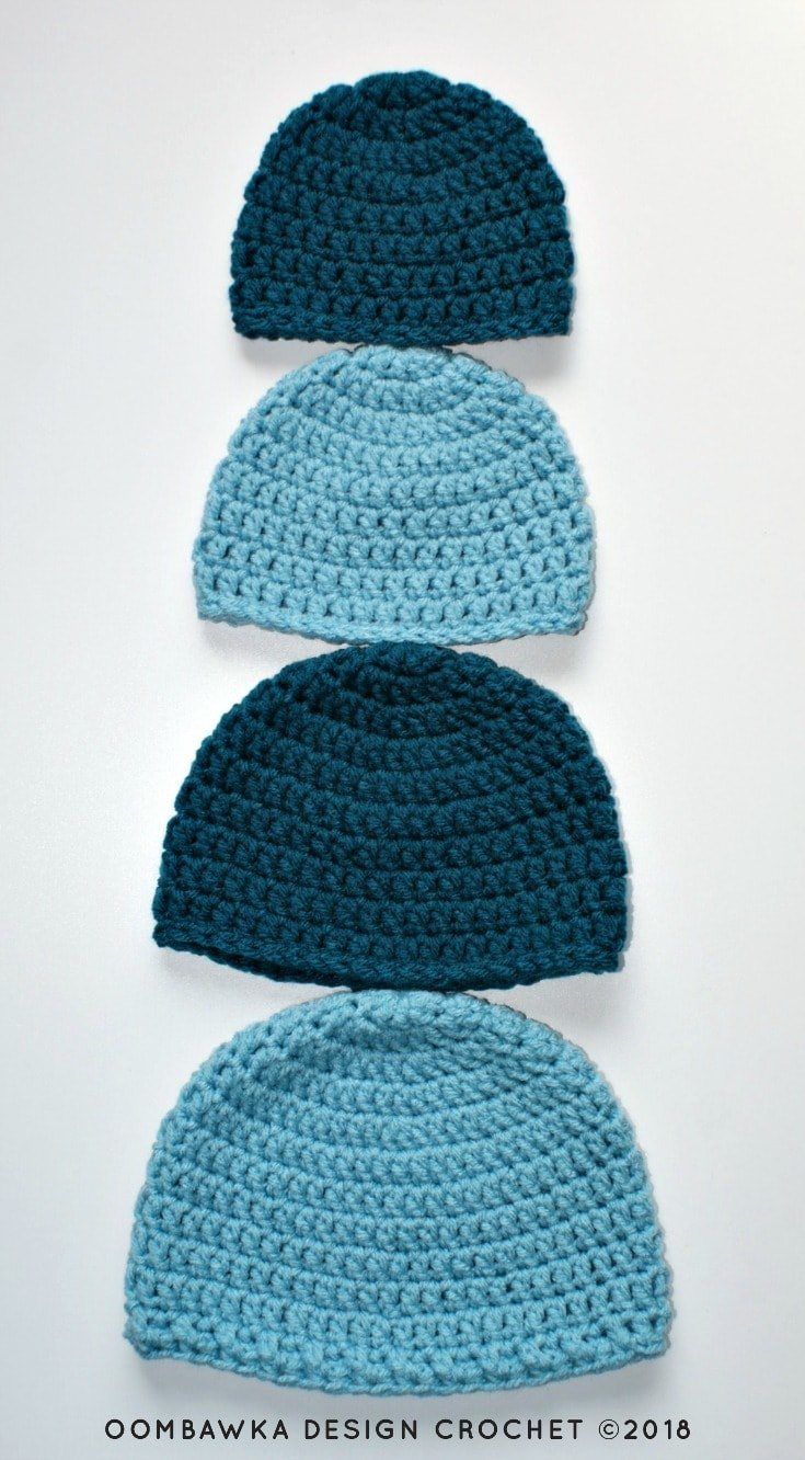 8b0aed02e95 Simple Double Crochet Hat - A Free Crochet Pattern Sizes  Preemie to Adult  Large Yarn