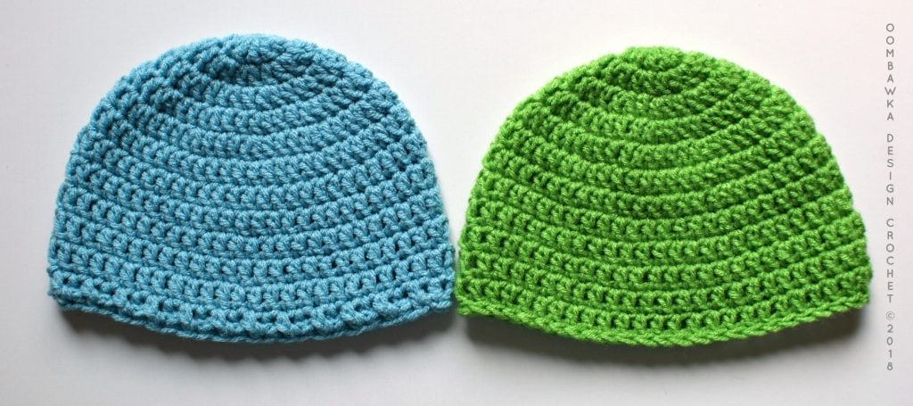 Red Heart With Love vs Red Heart Super Saver Hat using the Simple Double Crochet Hat Pattern by Oombawka Design Crochet