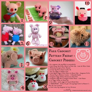 Pig Crochet Patterns. Free Pattern Roundup. Oombawka Design Crochet.