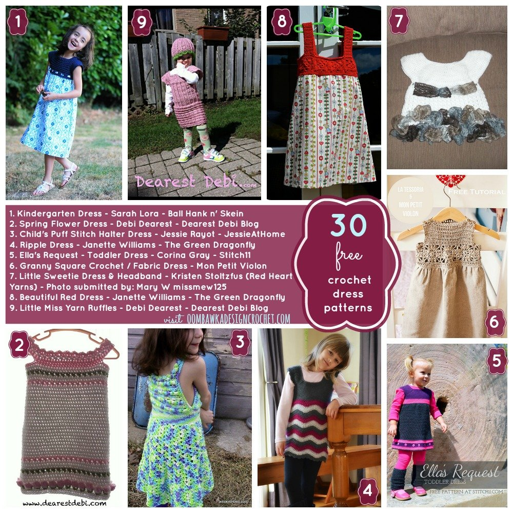30 Free Patterns for Crochet Dresses for Little Girls • Oombawka ...