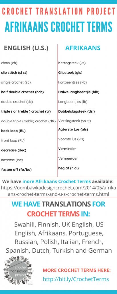 Afrikaans Crochet Terms - Crochet Translation Project
