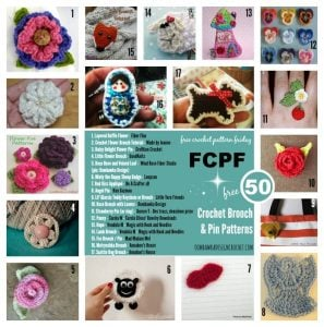 50 Crochet Brooch and Crochet Pin Patterns. Free Pattern Roundup. Oombawka Design Crochet.