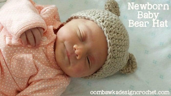 47e12b79af1 Newborn Baby Bear Hat Pattern • Oombawka Design Crochet