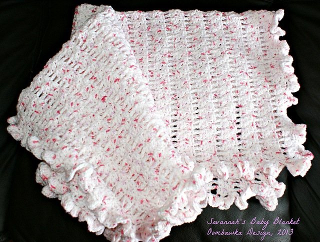 """Savannah's Baby Blanket Swaddle Blanket (30""""x 30"""") Chain 139 and proceed to R1 78 rows total  Crib Blanket (30""""x36"""") Chain 167 and proceed to R1 78 rows total  Newborn Baby Blanket(32""""x36"""") Chain 167 and proceed to R1 84 rows total  Receiving Blanket (34""""x36"""") Chain 167 and proceed to R1 89 rows totalBaby Blanket (36""""x36"""") Chain 167 and proceed to R1 95 rows total*Lapghan (36""""x48"""") Chain 223 and proceed to R1 95 rows totalChild (42""""x48"""") Chain 223 and proceed to R1 111 rows total"""