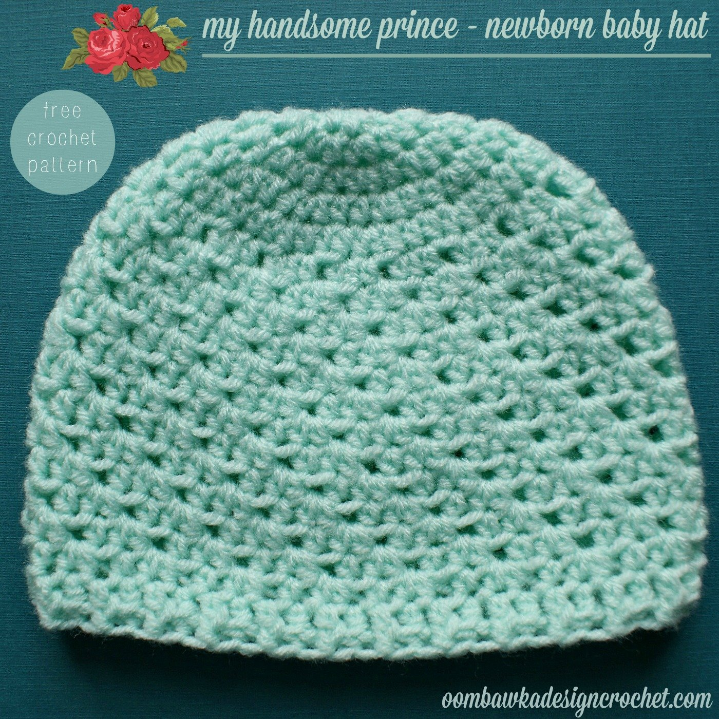 Free Crochet Pattern For Infant Hat : My Handsome Prince Newborn Baby Hat Oombawka Design Crochet