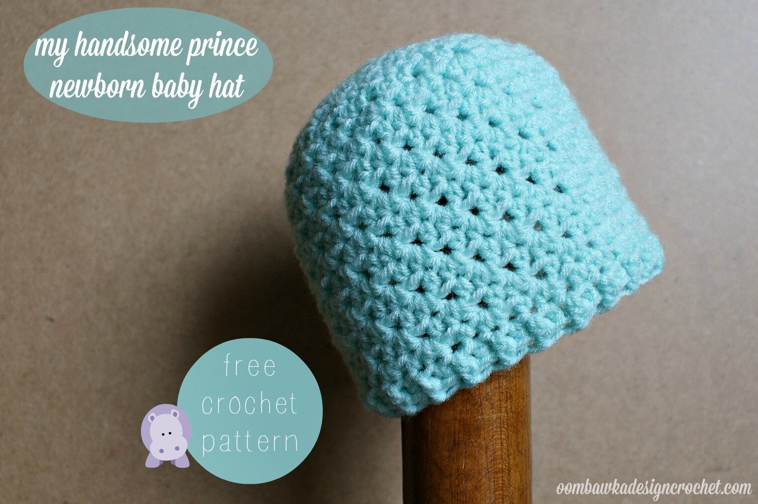 Free Crochet Pattern For A Newborn Hat : My Handsome Prince Newborn Baby Hat Oombawka Design Crochet