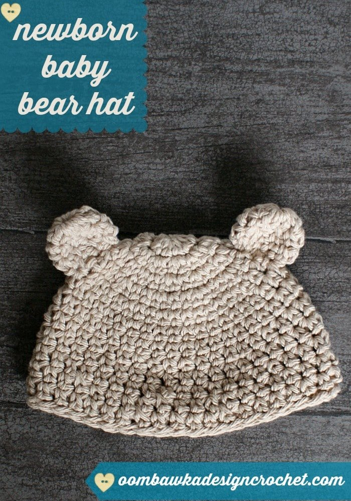 Free Crochet Bear Ear Hat Pattern : Newborn Baby Bear Hat Oombawka Design Crochet