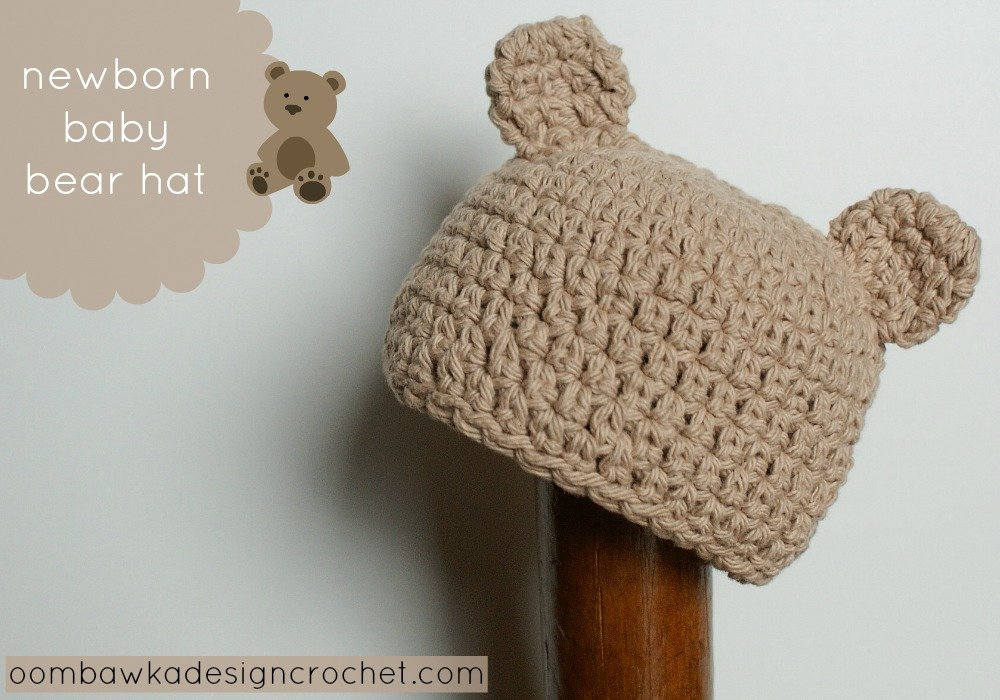 Newborn Baby Bear Hat Pattern • Oombawka Design Crochet
