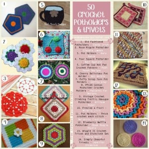 50 Crochet Potholder and Trivet Patterns. Free Pattern Roundup. Oombawka Design Crochet.