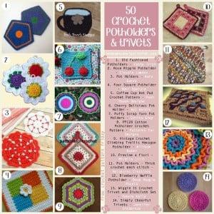 50 Crochet Potholder and Trivet Patterns. Free Pattern Roundup. Oombawka Design Crochet.