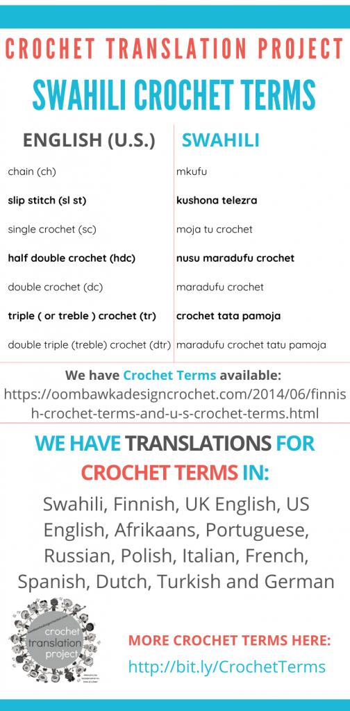 Swahili Crochet Terms - Crochet Translation Project