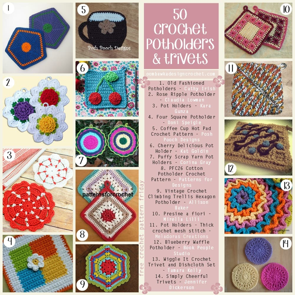 50 free crochet patterns for potholders