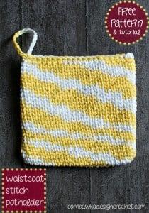 Waistcoat Stitch Potholder. Waistcoat Stitch Tutorial. Oombawka Design Crochet.