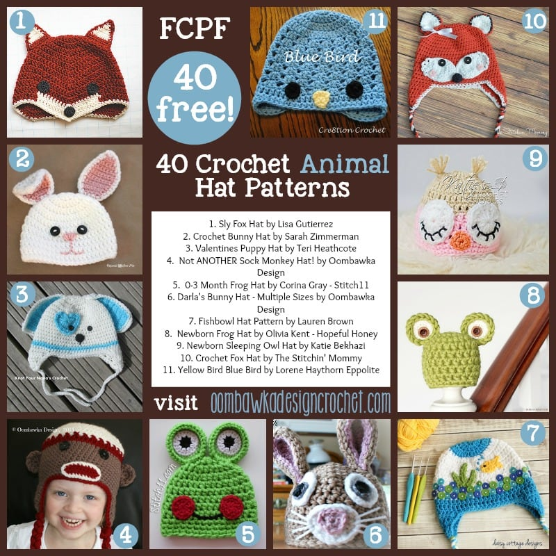 40 Fabulous and Free Crochet Animal Hat Patterns • Oombawka Design ... 63e9b9a9fdf