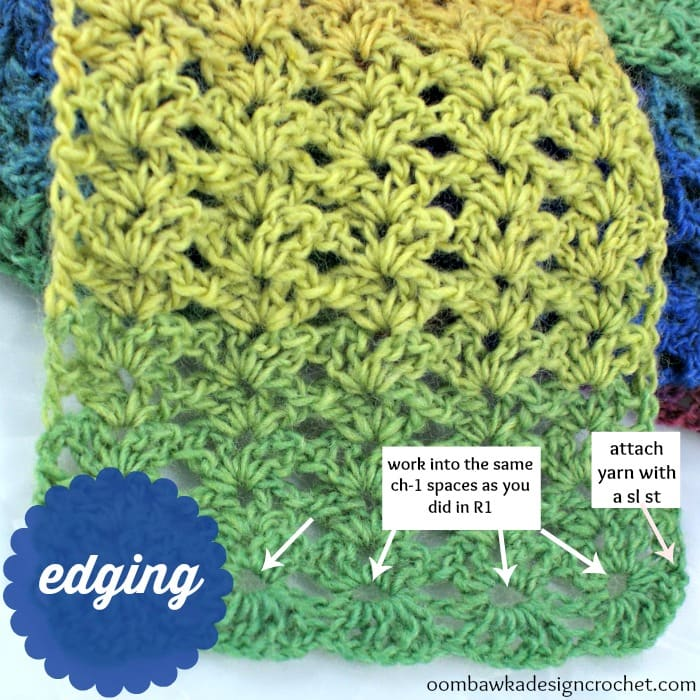 Just be happy scarf edging