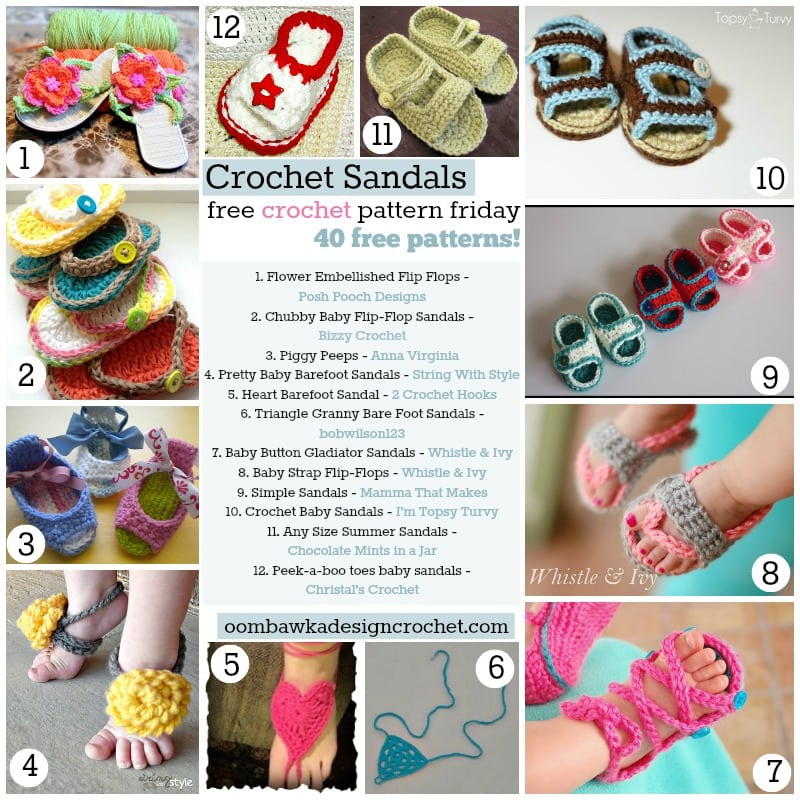 Crochet Baby Toe Sandals Free Pattern : 40 Free Crochet Sandal Patterns Oombawka Design Crochet