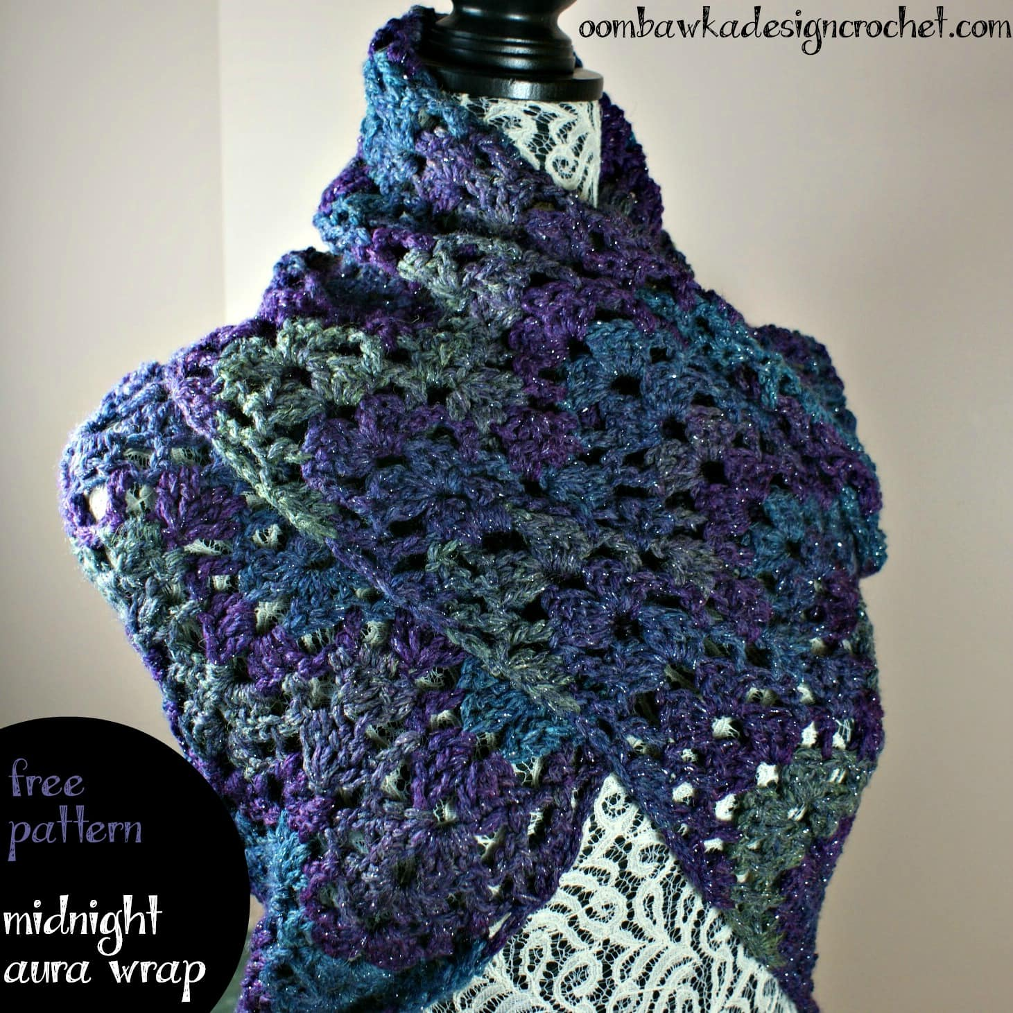 Midnight Aura Wrap Free Pattern from Oombawka Design