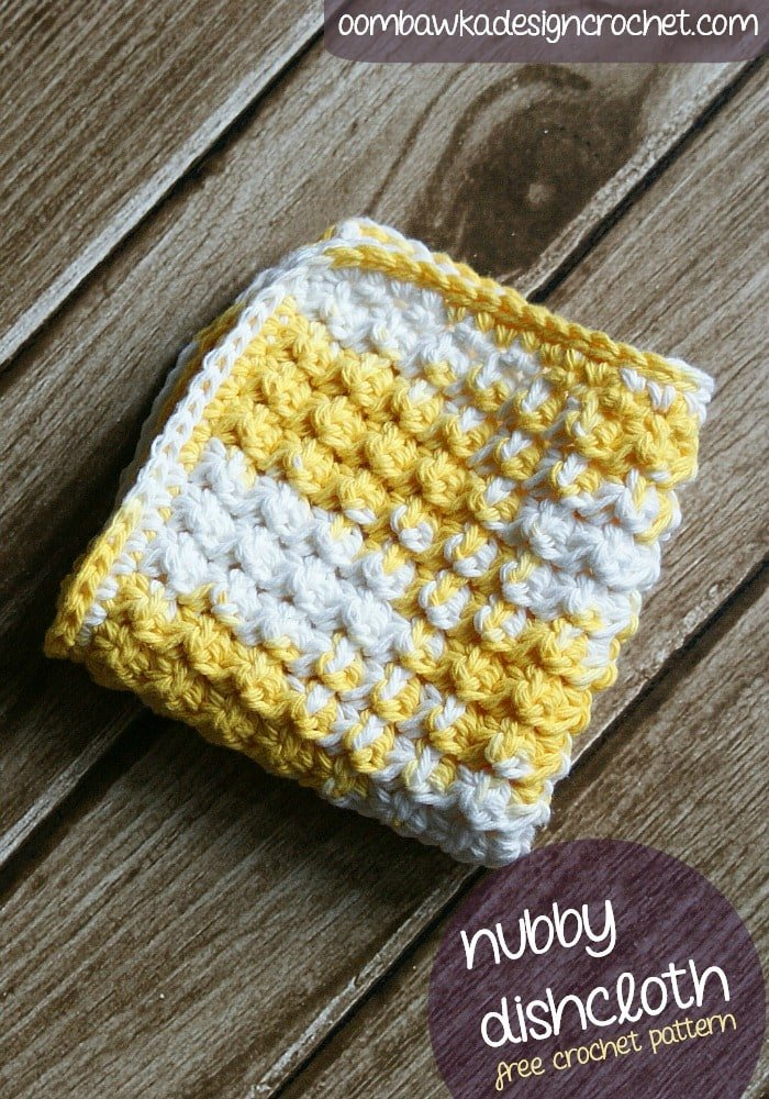 Crochet the Nubby dishcloth using the Nubbins stitch. This is just one of the stitch patterns included in 108 Crochet Cluster Stitches.