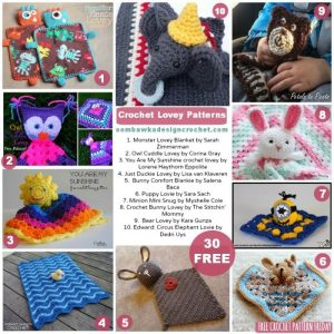 30 Crochet Lovey Patterns. Free Pattern Roundup. Oombawka Design.