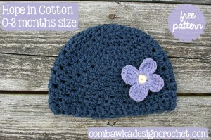 Hope in Cotton Hat Pattern in Multiple Sizes