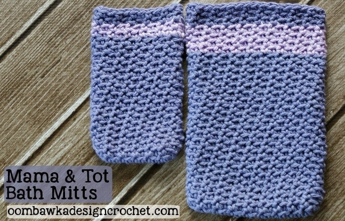 Mama and Tot Bath Mitts - Free Pattern for Crochet Bath Mitts