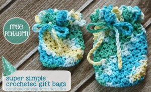 Crocheted Gift Bag Pattern. Oombawka Design Crochet.
