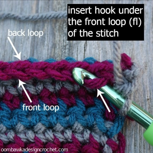 work in the front loop ( remember the front loop is always the loop ...
