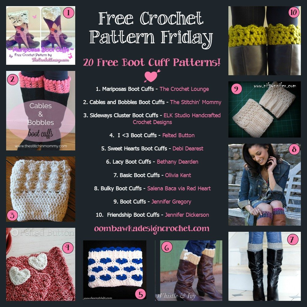 20 Free Boot Cuff Crochet Patterns Oombawka Design Crochet