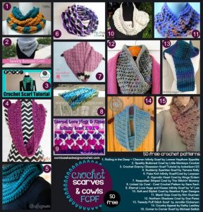 50 Free Patterns for Scarves and Cowls. Crochet Pattern Roundup. Oombawka Design Crochet.