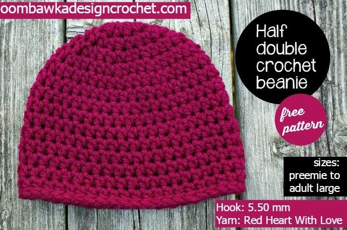 Half Double Crochet Basic Beanie - My Most Requested Hat Pattern Crocheted  with Red Heart With cfc291b6ae8