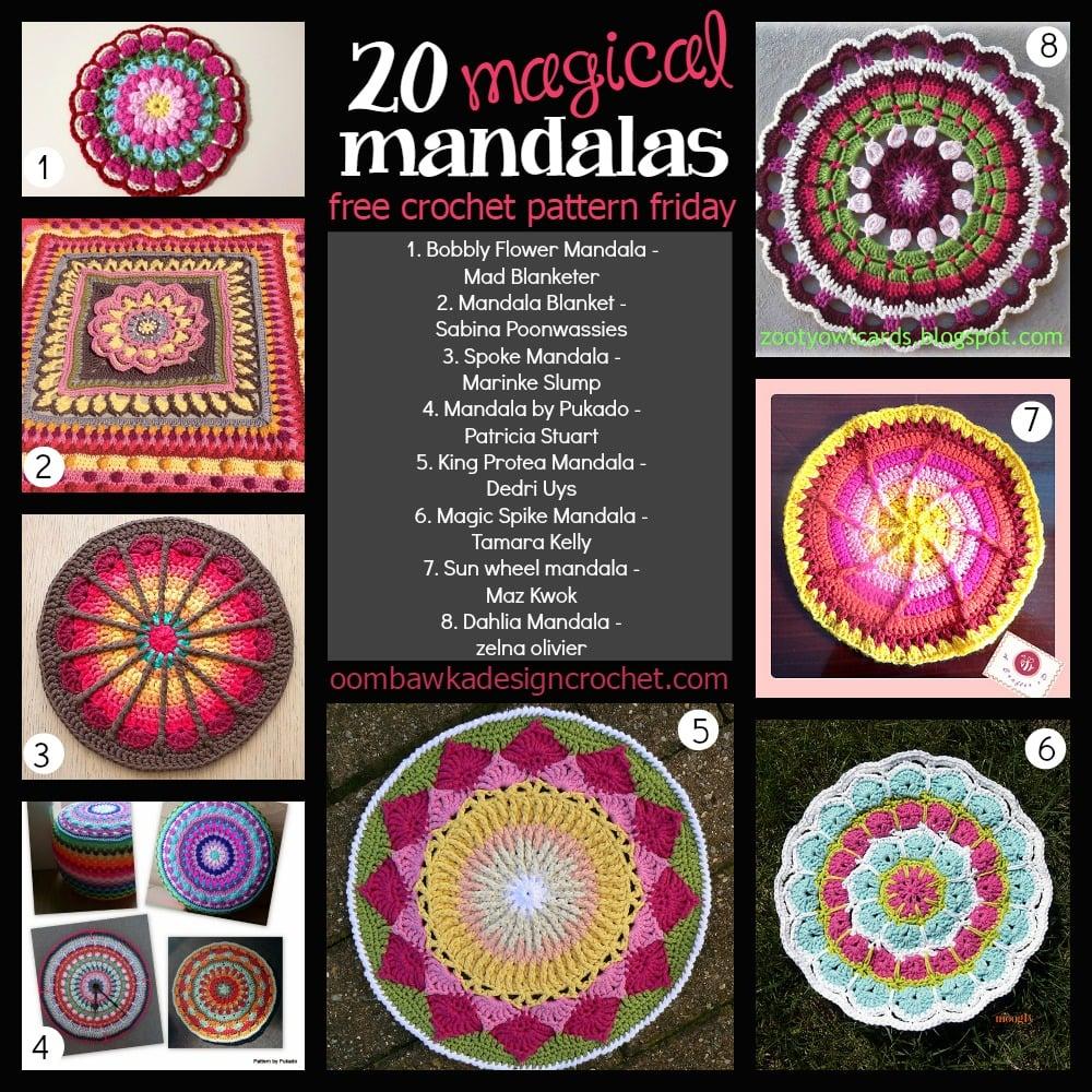 20 Free Magical Mandala Patterns Oombawka Design Crochet Doily Pattern With Butterflies Circular