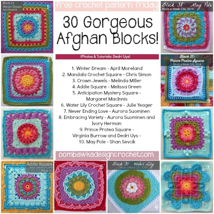 Crochet Patterns Block Afghan : 30 Free 12 inch Afghan Block Crochet Patterns! Oombawka ...