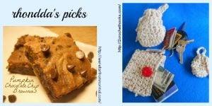 Featuring: Pumpkin Chocolate Chip Brownies Recipe. Oombawka Design Crochet.