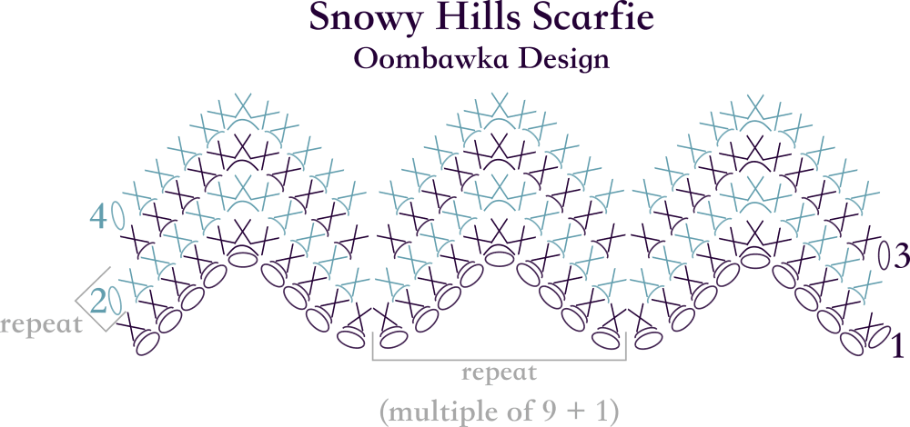 Snowy Hills Scarf Stitch Diagram Oombawka Design Crochet