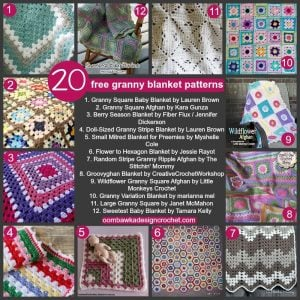 20 Granny Blanket Patterns. Free Pattern Roundup. Oombawka Design Crochet.