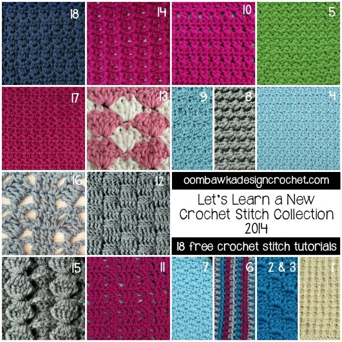 18 Free Crochet Stitch Tutorials