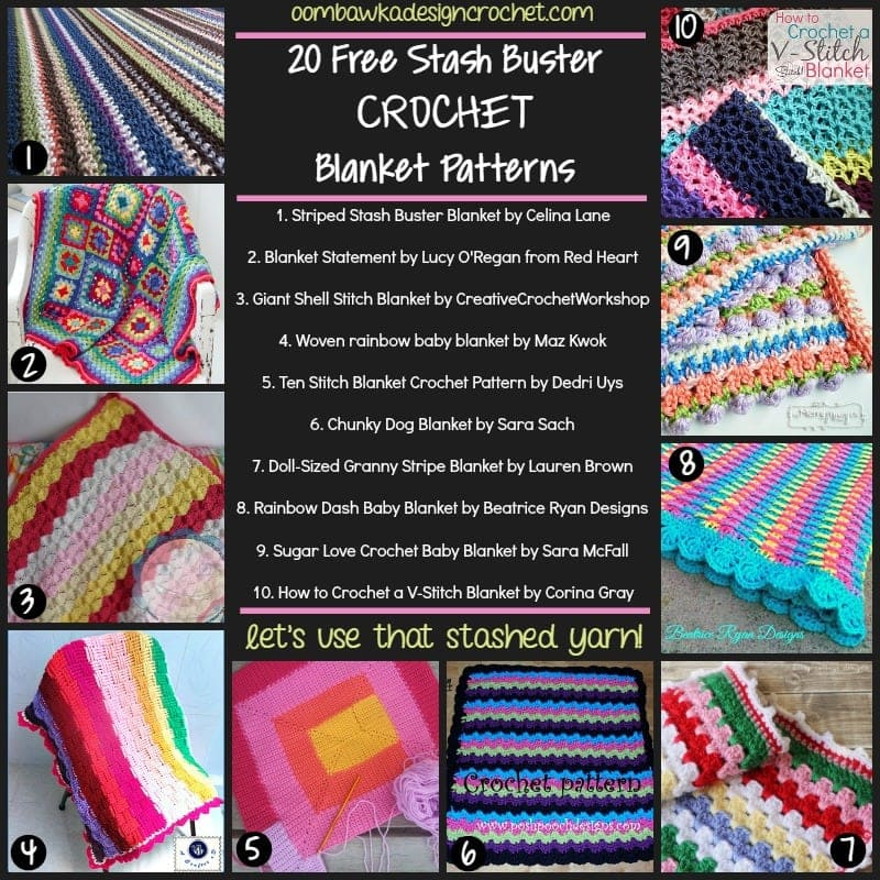 Stash Buster Blanket Free Patterns @OombawkaDesign