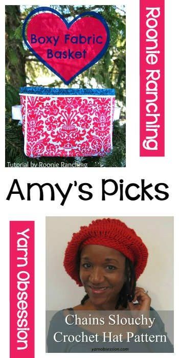 Amy's Picks Boxy Fabric Basket by Roonie Ranching and Chains Slouchy by Yarn Obsession