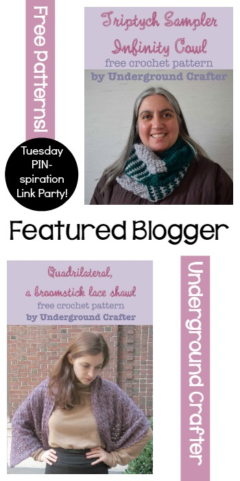 Featured Blogger Underground Crafter Triptych Sampler Infinity Cowl and Quadrilateral a broomstick lace shawl