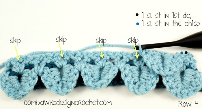 Crocodile Stitch Row 4 @OombawkaDesign
