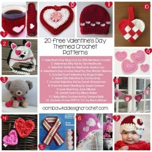 Valentine's Day Themed Crochet Patterns @OombawkaDesign